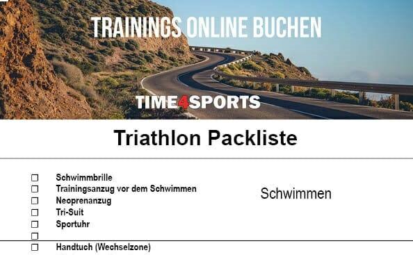 Vorschaubild Triathlon-Packliste